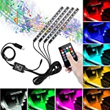 Tira LED para Coche, Winzwon Luces Led Coche Para Coche con 48 LED DC 12V Multi Color Music Car Ambiente Luz de tira Kit Impermeable con Control Remoto Inalámbrico